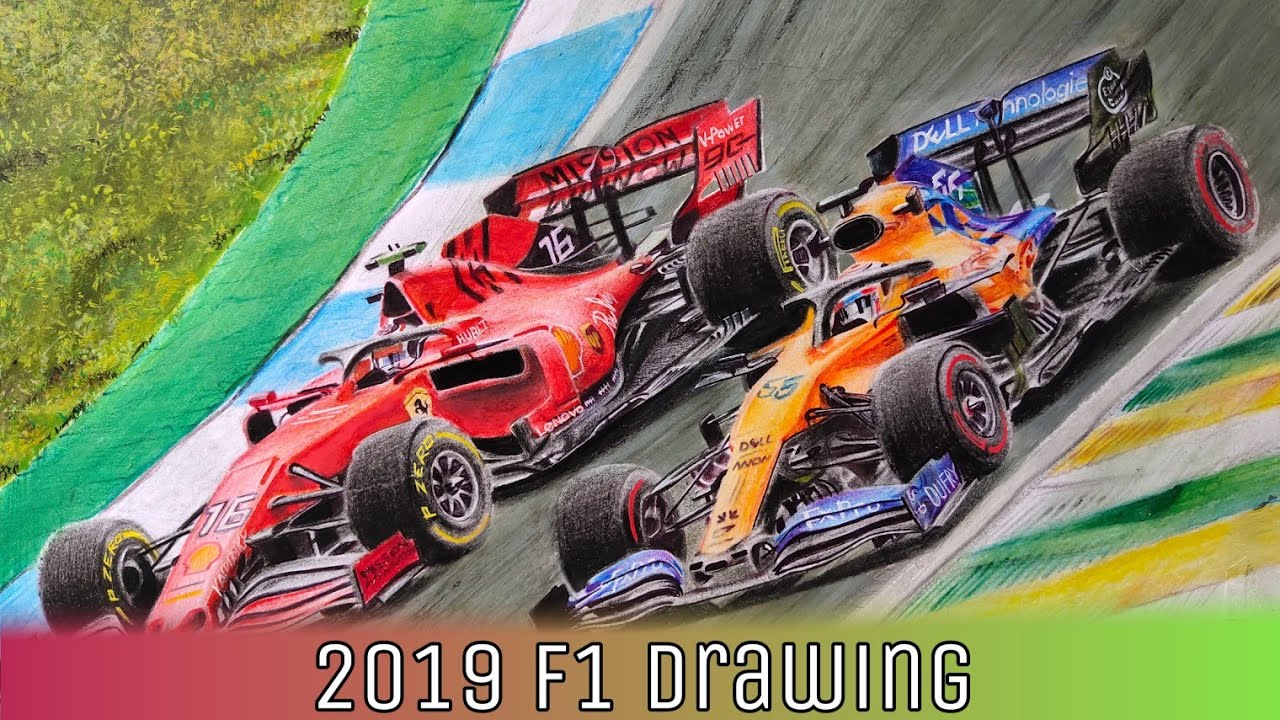 F1 car realistic drawing/ How to time lapse - YouTube