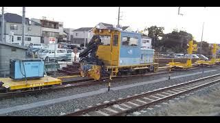 たまには保守車両も❗️ JR草薙駅待避線にいた JR東海18t&名工建設バッテリー