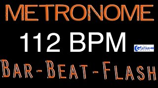 112 BPM (Beats Per Minute) Metronome Click Track - Bar-Beat -Flash