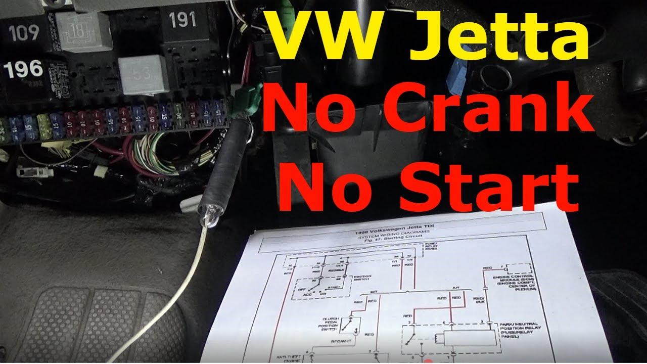 Jetta Mk4 Radio Wiring Diagram 7s Bms Volkswagen No Crank Start Troubleshoot Repair Youtube