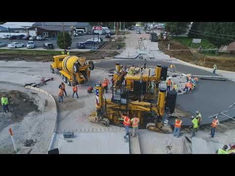 GOMACO GP3 Slipform Paver; Concrete Roundabout, Aerial; Cedar Rapids, Iowa