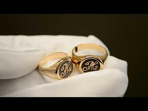 Золотые именные парные кольца-печатки из красного золота 585 пробы с инициалами и чернением