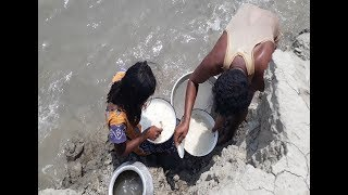 Shrimp Baby Fish Catching On The River | Amazing skill