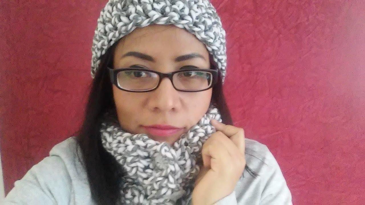 ddbdb8a2af035 Gorro y cuello con lana gruesa a crochet - YouTube
