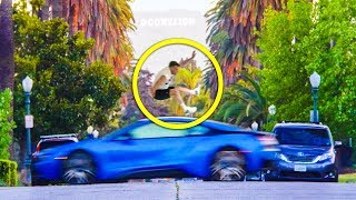 HE JUMPED OVER A MOVING CAR FOR $$$!!
