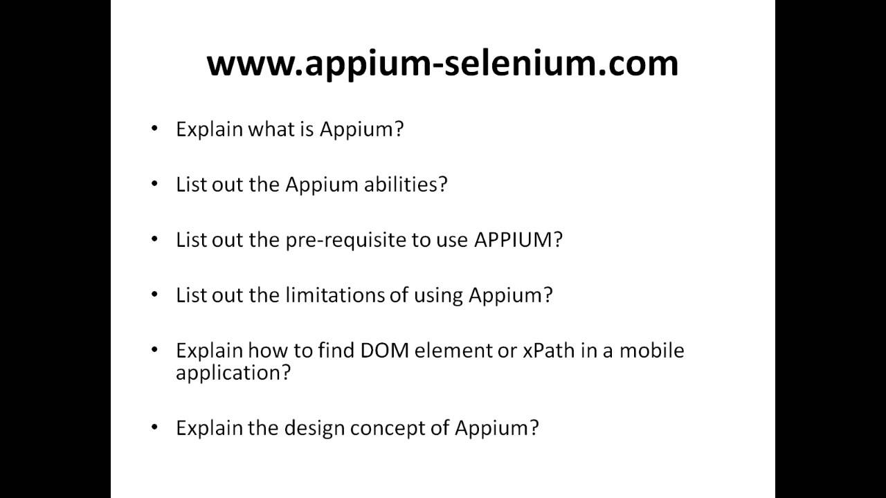 appium interview questions appium interview questions
