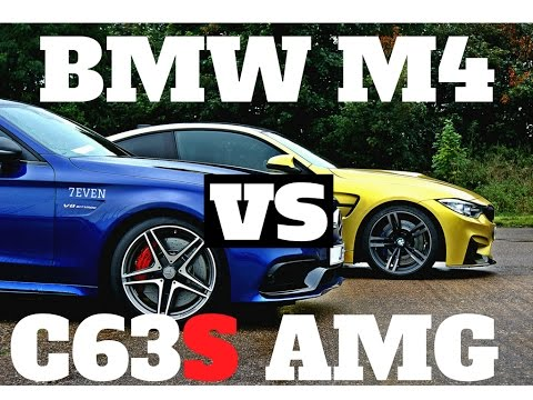 bmw m4 vs mercedes c63s amg drag race top speed at vmax. Black Bedroom Furniture Sets. Home Design Ideas