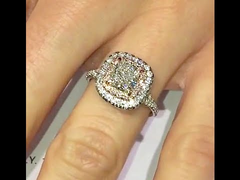1 25 Ct Cushion Cut Engagement Ring In Double Halo With