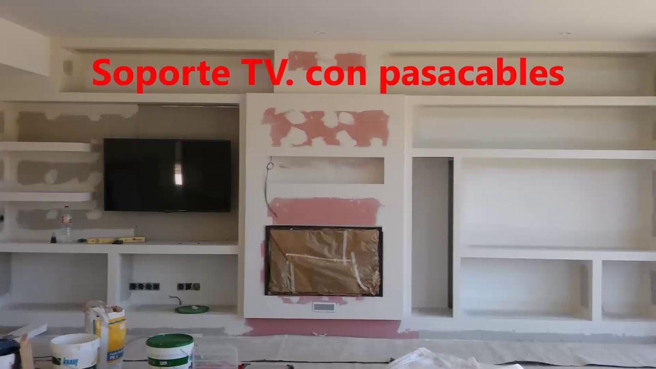 Chimenea y mueble de pladur youtube for Muebles para chimeneas