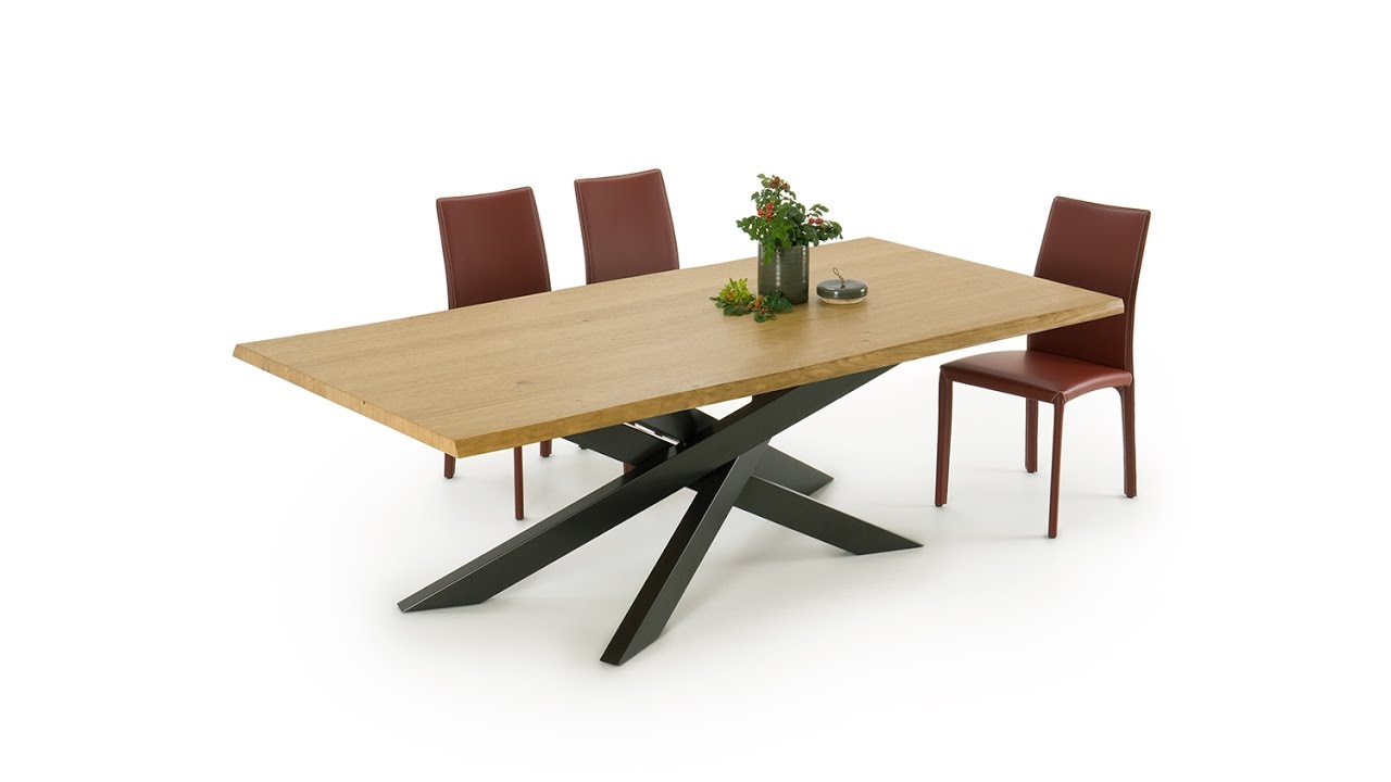 Connor wood crossed leg dining table youtube for One leg dining table