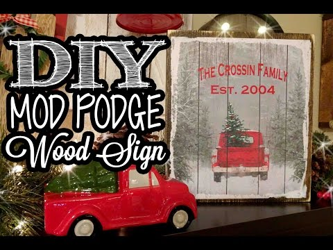 Mod Podge Wood Sign - Dollar Tree Gift Bag