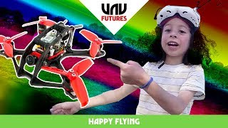 WORLDS MOST EXCITED 6yr OLD tries FPV racing drones!! Happy flying #35