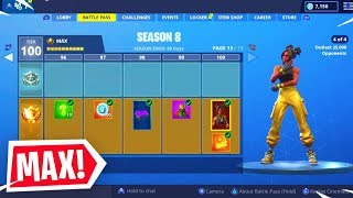 *NEW* SEASON 8 BUYING ALL 100 TIERS! FORTNITE TIER 100 UNLOCKED! (Fortnite Season 8 Battle Pass)