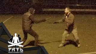 Красивый и динамичный ножевой бой на равных. Спарринги школы НБ