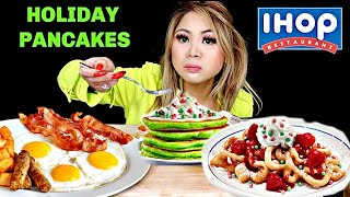 IHOP HOLIDAY PANCAKES AND FUNNEL CAKES (MUKBANG)
