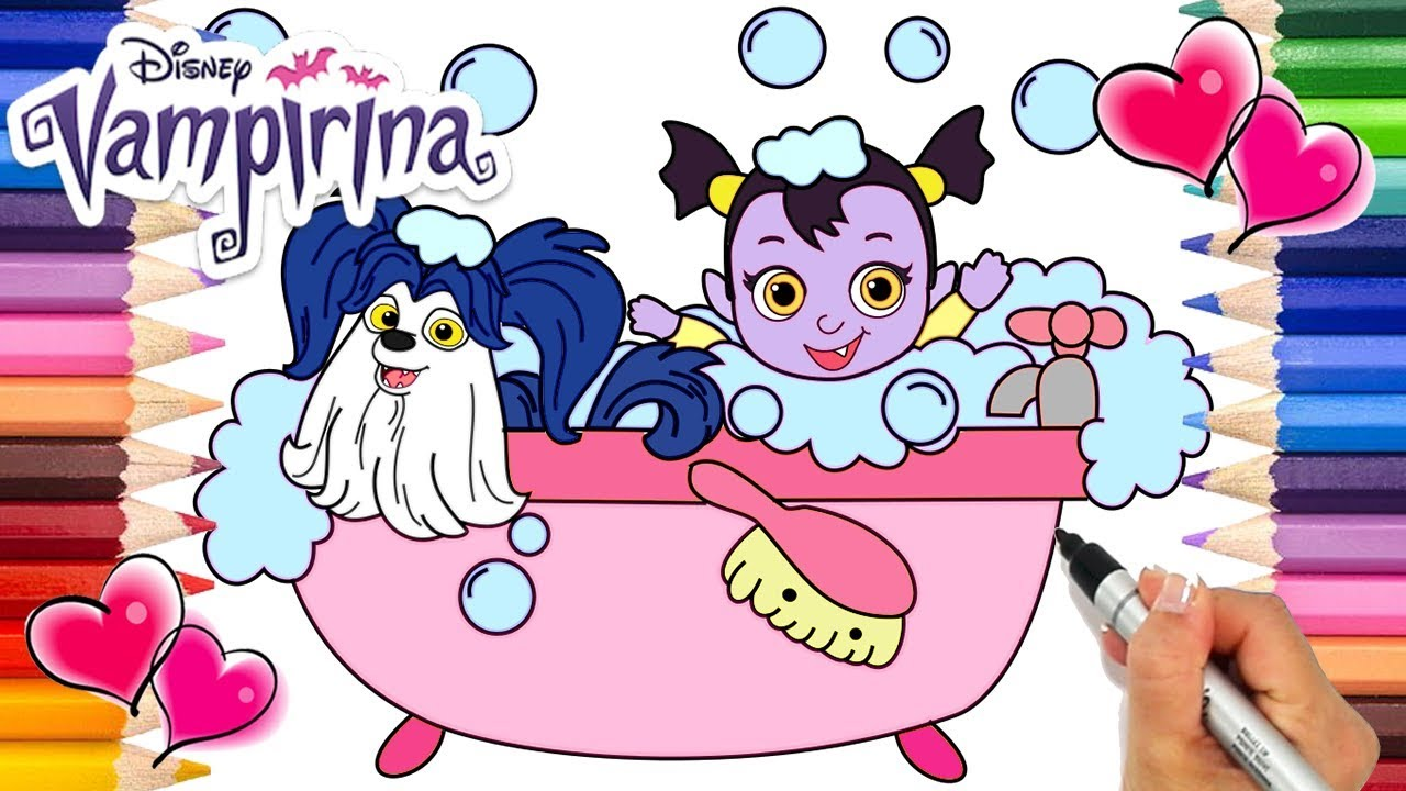 Vampirina Baby Nosy and Wolfie Bubble Bath Coloring Page | Baby Nosy ...