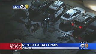 Stolen Vehicle Flees In South LA After Causing Civilian, LAPD Crashes