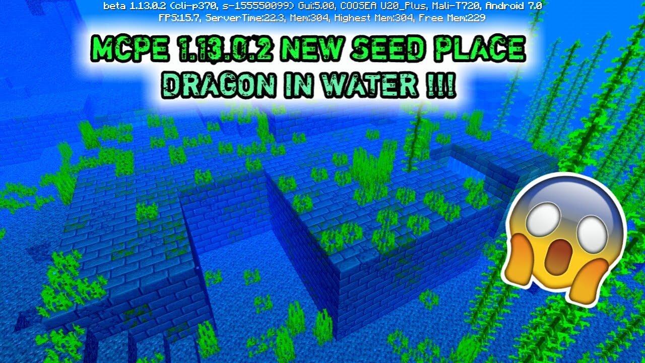 Minecraft Pe New Seed Place Dragon in Water!! (Minecraft Pe Versi 1.13.0.2) #1