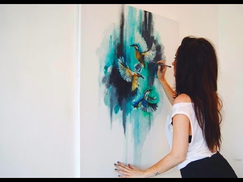 Abstract Birds Oil Painting - Time-Lapse - Speed Painting - YouTube