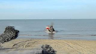 Fishing Boat launching on Prestatyn Promenade, North Wales 17.2.13