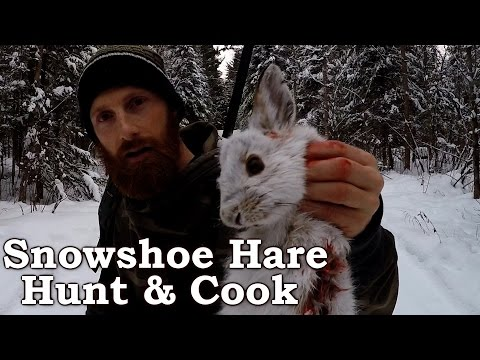 Catch n Cook Clean Snowshoe Hare! | EPIC Cooking Over Open Fire!!! | Survival Foods