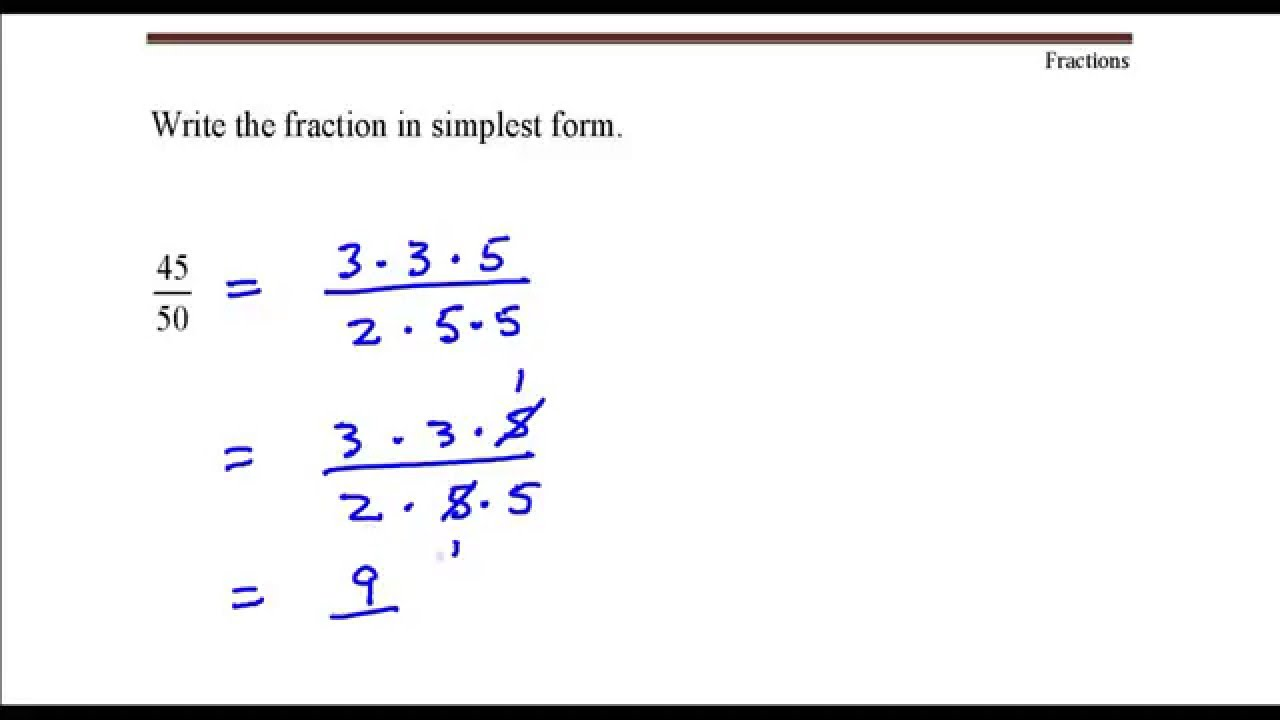 writing fractions in simplest form