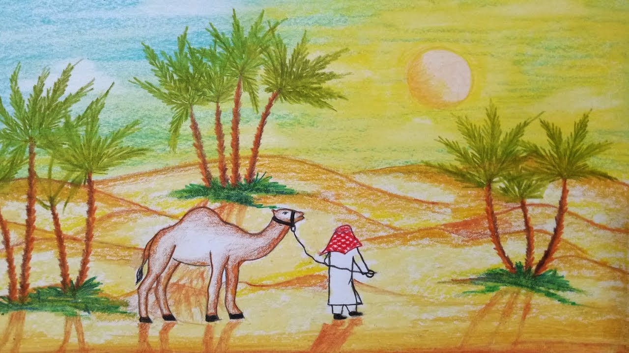 How To Draw Scenery Of Desert With Camel Step By Step Easy Draw