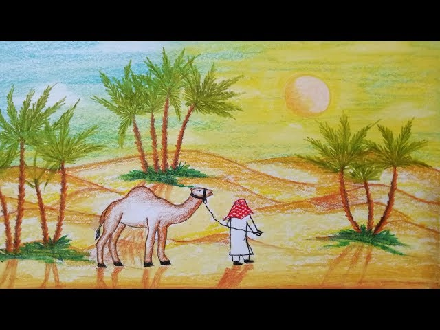 How to draw scenery of Desert with camel Step by step(easy draw)