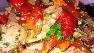 Теплый салат с печенью и запеченным перцем