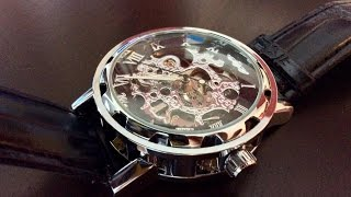 $17 GuTe classic steampunk mechanical automatic black silver skeleton watch review