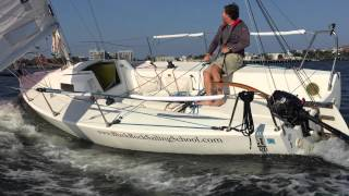 J80 Solo Sailing & Gybing - Boston Harbor