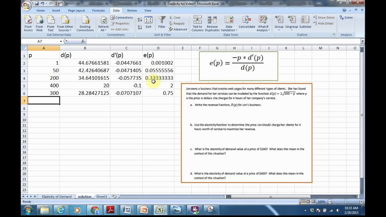 Elasticity Of Demand In Excel Youtube