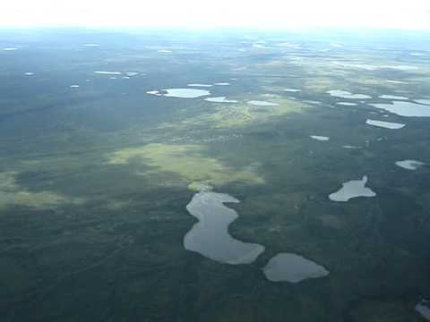 Aerial Pano Lone Mountain and Tundra Ponds S of Old Crow YT Canada