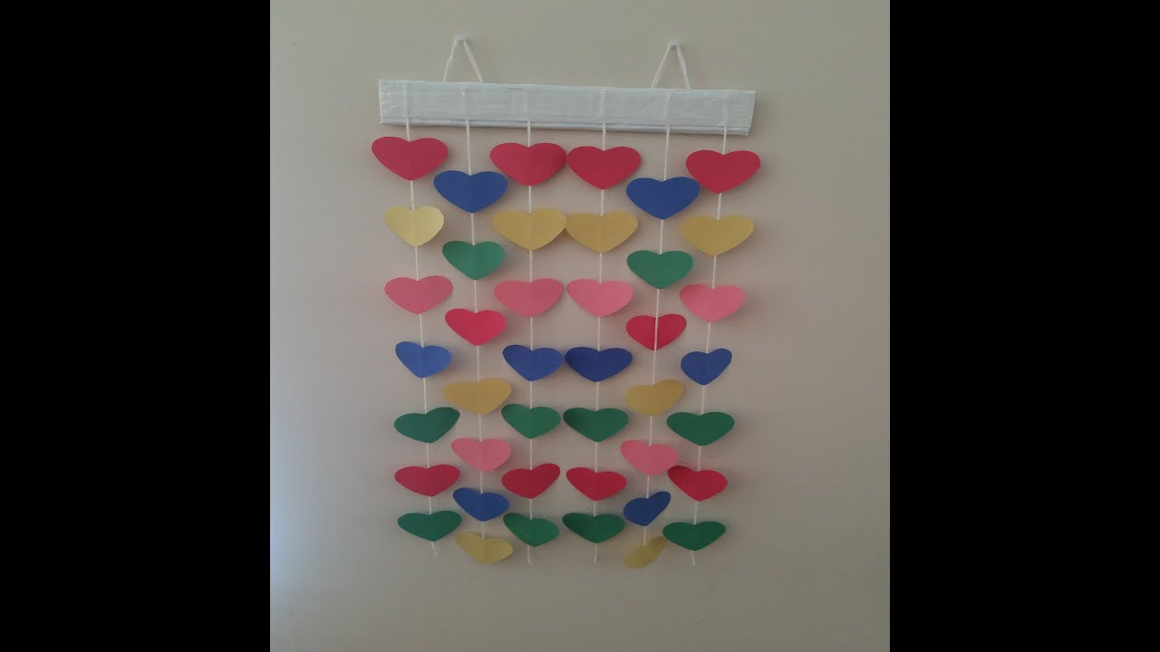 DIY Paper hanging wall decor colourful paper heart wall