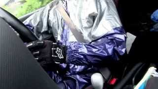 Blue and silver PVC shiny Rain suit with rubber glove drive 14