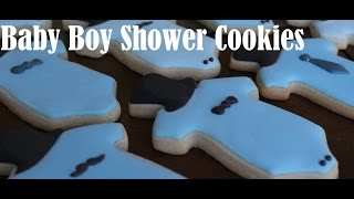 Little Man Onesie: Baby Boy Shower Cookies: Cookie Creations by Maggie