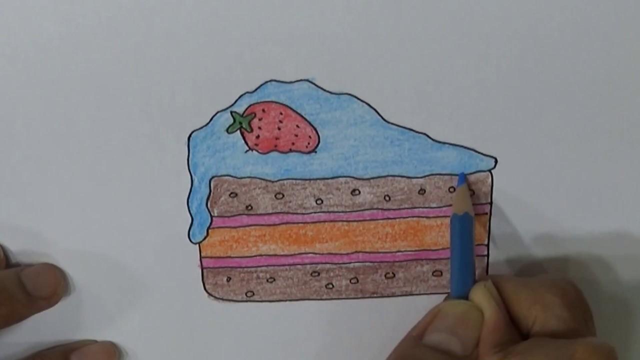 Belajar Menggambar Mewarnai Mudah Kue Tart Gambar Cloud Bread