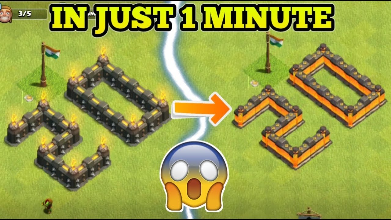 NEW RECORD ! Upgrading 20+ Walls In 1 Minutes ! Clash of Clans !