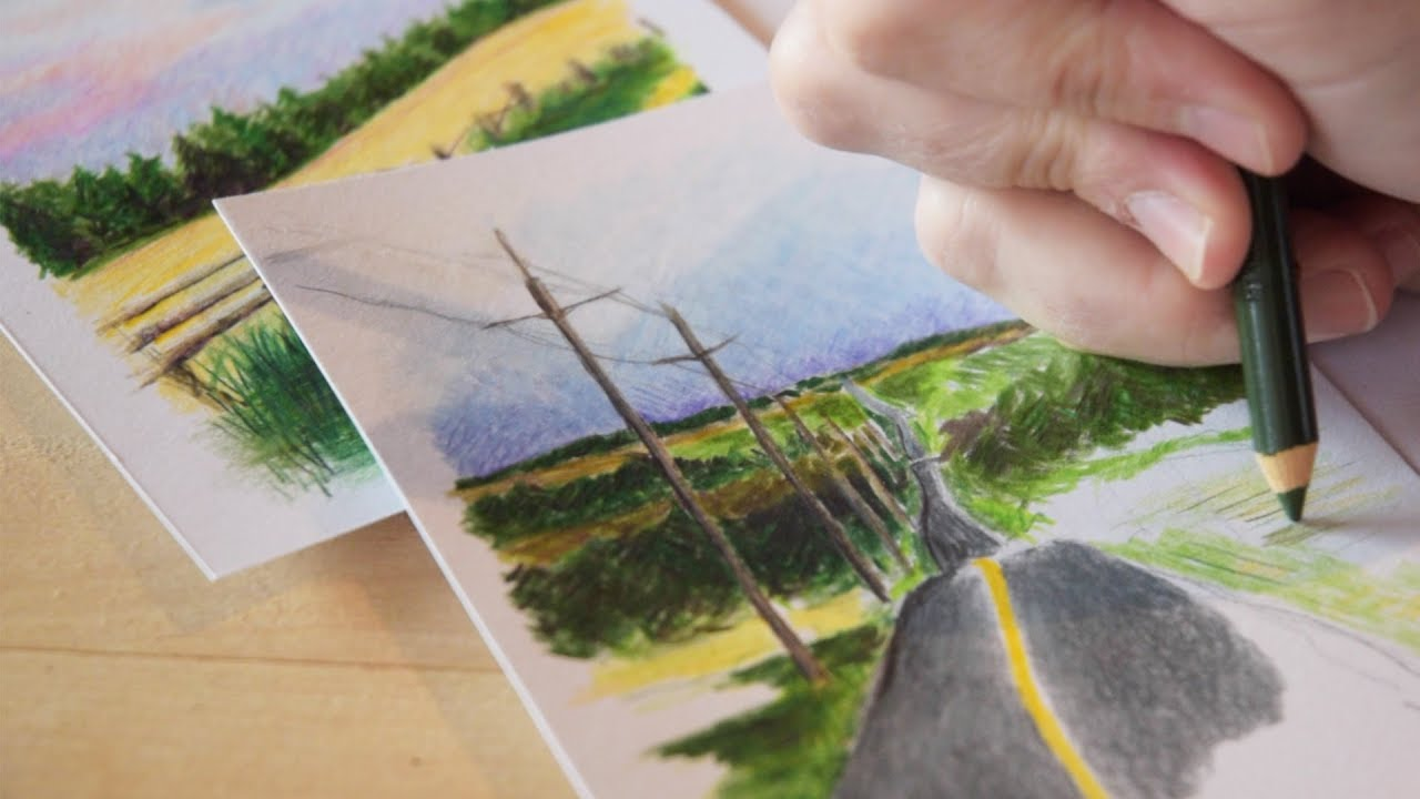 Pencil crayon landscapes a personal art project