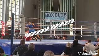 Der Blaue ecke Kurdischer Boxer (Muhammad Abdulkarim) gegen Schweizer Boxen 28.10.2017ألملاكمة