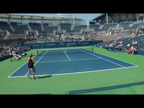 Jelena Ostapenko full practice set with Lucie Safarova at th