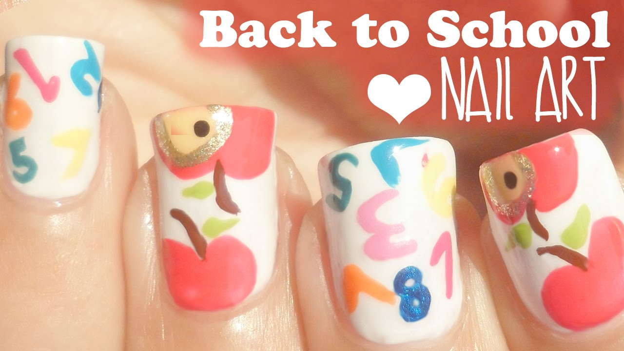 Back To School Nails Apples Numbers Youtube