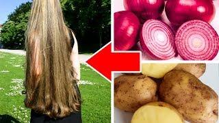 Быстрый рост волос. Как использовать Лук и Картофель, для ускоренного роста густых волос.
