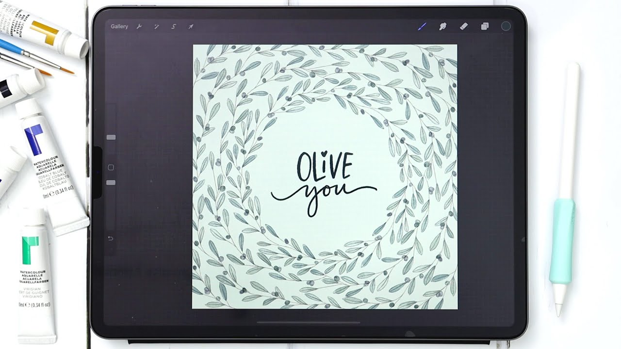 Paint a Watercolor Olive Wreath in Procreate