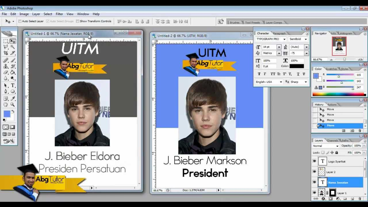 Part 2 Speed Photoshop of Justin Bieber Nametag for University ...