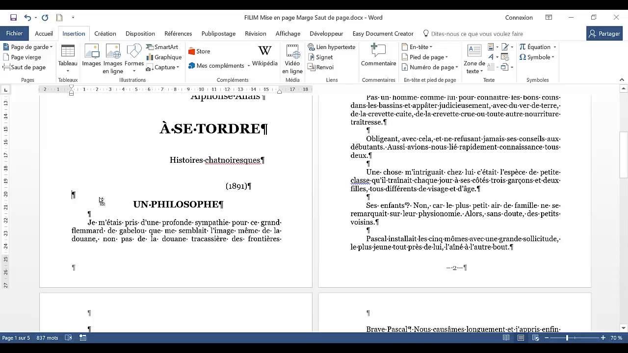 mise en page word  word 2007 mise en page  tutoriel word