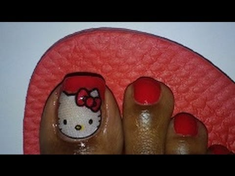 Toe Art Design Totw Simple Red Hello Kitty Using Real Fabric