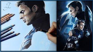Steve Rogers (Chris Evans) - Captain America   Speed Art Drawing Painting