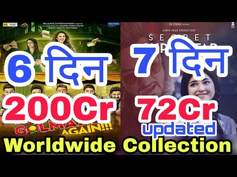 Golmaal Again 6th Day, Secret Superstar 7th Day Worldwide Box Office Collection | Hindi