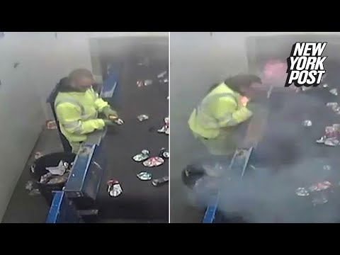 A flare tossed in the recycling bin nearly kills this worker | New York Post